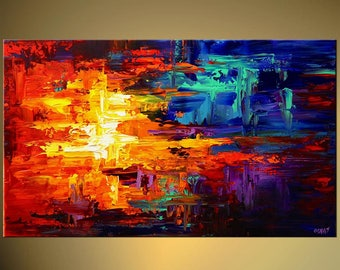Abstract Canvas Print - Stretched, Embellished & Ready-to-Hang  - Galaxy s - Art by Osnat