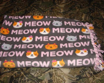 MEOW Kitten Cat Double Sided Fleece Blanket, no sew tied blankets, infant baby toddler, cats tabbys feline, baby shower gift, girls gift