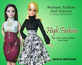 "High Fashion steampunk lolita Dress pattern for Barbie Tall Curvy Petite Classic, Disney Princess, and other 11.5"" Medium Fashion Dolls"