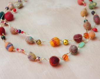 SALE %20 Felt Ball Necklace, Wool Ball Necklace, Felt Necklace, Long Necklace, Boho Necklace, Felt Jewelry, Wool Necklace, Pom Pom Necklace
