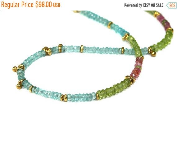 20% off. August Birthstone Jubjub Beaded Necklace. Colorful Layering Necklace in Gold Vermeil Apatite Peridot and Tourmaline.