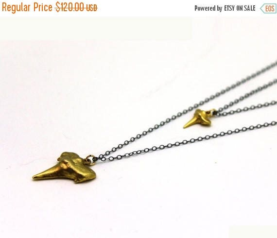 20% off. Mom and Baby Shark Tooth Necklace. Long Layered Shark Tooth Necklace. Mixed Metal Necklace.  NL-1725