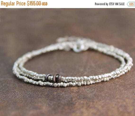 20% off. Pure Silver Beaded Necklace. Delicate Skinny Wrap Necklace or Bracelet. Tiny Hill Tribe Beads in Vermeil or Fine Silver. B-1916