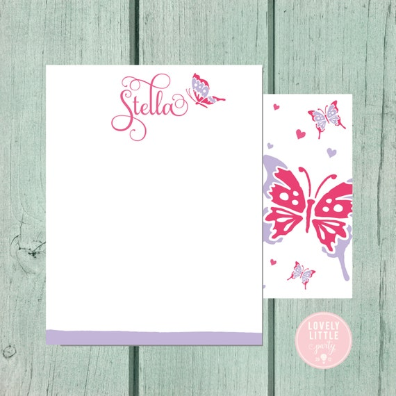 Butterfly Stationery, Kids Stationery, Notecards, Kids notecards, Girls Birthday Gift, Girls Christmas Gift - Lovely Little Party