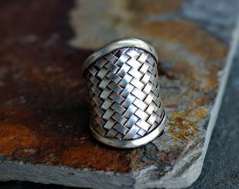 Xela Sterling Silver Ring Woven Ring Statement Ring