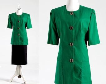 Oleg Cassini, Vintage 70s Style, Jacket Womens, Blazer, Buttons,  Jackie Kennedy,  Spring green,  1960,  1970, Designer,