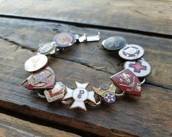 Vintage Enamel Service Union Military Group Pins Bracelet Jewelry Colorful & Fun Unique One Of a Kind OOAK Upcycled Esso Red Cross