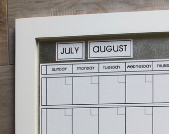 Medium WHITE LINEN Dry Erase Perpetual Calendar --**You pick Frame Color & Font