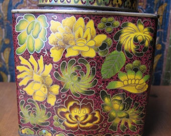Daher Floral Tin Box, Square with Round Lid, Made in England, Chinoiserie, Cookie Biscuit Tea Tin, Flowers Burgandy Maroon Green Yellow