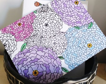 Flower Coloring Greeting Card - Thinking of You, Thank you, Happy Birthday, Happy Mother's Day
