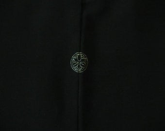 Black Silk Haori with Embroidered Family Crest (WHBK1-QP12316-E)
