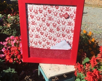 """22""""x26"""" Beautiful Christmas red frame card holder and pin board."""