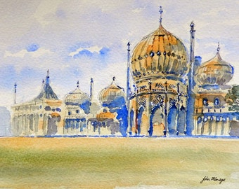 The Brighton Pavillion, print of a watercolour painting by John Menage available in size A3 or A4