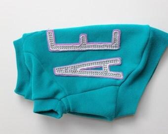 Teal Aeropostale Upcycled Dog Sweatshirt (XXS)