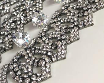 Ice Beauty  Crystal Choker, Crystal Choker, Diamond Choker, Choker Jewelry, Gunmetal Crystal Choker, Gun metal Choker