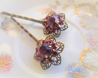 Repurposed/Upcycled Vintage Ruby Red Cluster Rhinestone Bobby Pins,  Hair Pins, OOAK Art, Christmas Party Hair Accessories