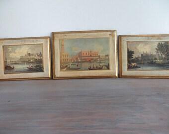 Vintage Florentine art, Italian paintings, wall hangings plaques, Italian gondola castle art