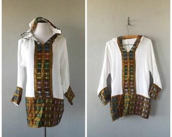 metallic hoodie blouse | vintage 80s white cotton gauze hippie boho tunic size s/small bohemian ethnic dress tops 1980s sundress hippy shirt