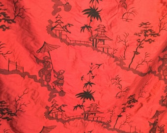 Embroidered dupioni silk chinoiserie fabric - BTY