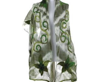Scarf, Felt Scarf, Felted Scarf, Nuno Felted Scarf, Felted Shawl, Wrap Scarf, Silk Scarf, Felt Wrap, FAST shipment with UPS or FEDEX - 10503
