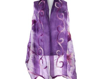 Scarf, Felt Scarf, Felted Scarf, Nuno Felted Scarf, Felted Shawl, Wrap Scarf, Silk Scarf, Felt Wrap, FAST shipment with UPS or FEDEX - 10544
