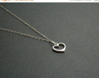 Almost Spring Sale Heart Necklace Small Sterling Silver Heart Necklace Chain Simple Style Tiny Heart Necklace Womans Delicate Whisper Simple