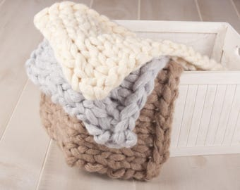 Chunky Knit blanket, Cream, grey and beige, Newborn Photography Prop