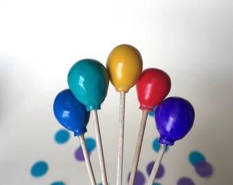 Balloon Cake Toppers/ Picks - birthday congratulatory celebration decoration Handmade