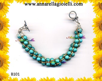 Handmade crochet bracelet, turkish rope, 20 cm, beads stitch, women jewelry, semiprecious stones, green, tiffany, fashion style, rhinestone