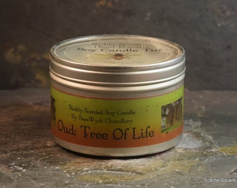 Soy Candle Tin - 8 oz in Oud: Tree of Life Scent