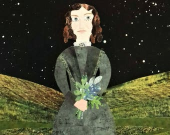 Original Art, Brontë Sisters, Collage, Recycled Art, Emily Brontë, Wuthering Heights, Yorkshire Moors, Starry Night, Portrait, Naive Art