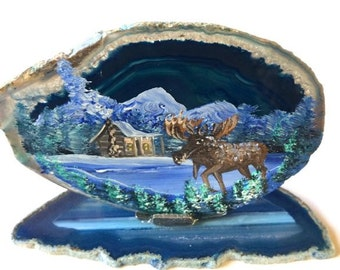 Hand Painted Brazilian Agate Mountain Winter Cabin and Moose