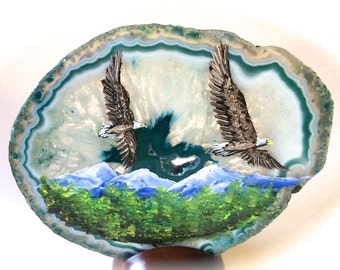 Hand Painted Brazilian Agate Summer Eagles