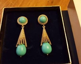 Avon Azurene Clip Earrings, New Old Stock - Still in Box!, 1972