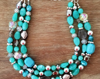 "The Heirloom Collection ""KEY WEST"" Necklace Turquoise Jewelry Blue Necklace Signature Multi-Crystal Statement Necklace"