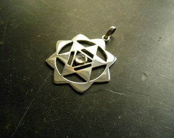 Pendant, Yantra, Sri Yantra, Sterling Silver, moonstone, esoteric, protection