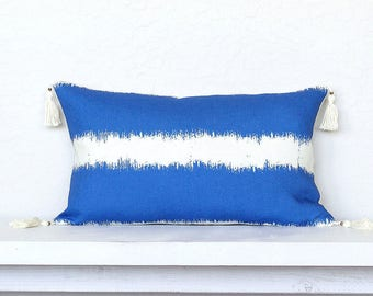 """Painterly Stripe Linen Pillow Cover with Tassels -12"""" x 20"""" -Pacific Combo"""