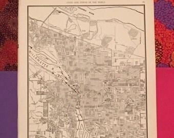 City of Portland Map / Antique Map of Portland Oregon / Vintage Map Decor / City Map Wall Art / 1939 Travel Decor / Atlas Page Street Map
