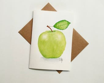 Green Apple Portrait Watercolor Card, Apple Card, Apple Watercolor