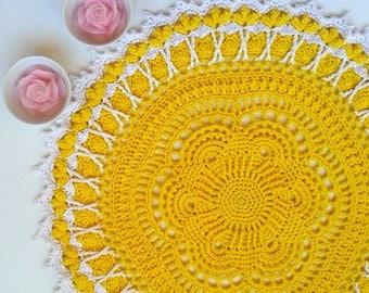"Yellow crochet doily Round 32 cm / 12.6"". Crocheted Doily."