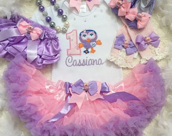 4-pcs Set Hootabelle inspired Birthday outfit- includes onesie,Delux super fluffy skirt,matching headband and shoes