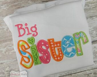 Big Sister Embroidered Shirt or Bodysuit