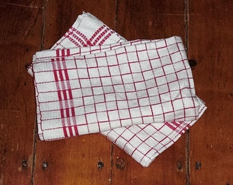Pair Vintage Red and White Linen Kitchen Towels