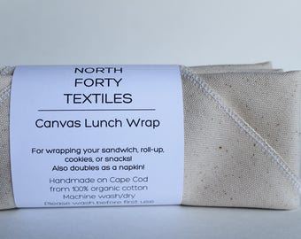 Organic Cotton Lunch Wrap - Set of 3 - reusable and eco-friendly canvas