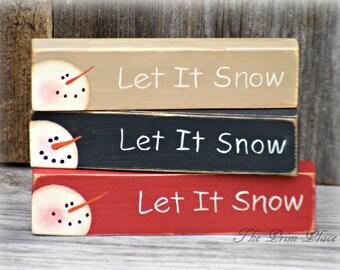 Small Handpainted Snowman Block~Shelf Sitter Block~Winter Decor~Snowman Decor~Primitive Christmas Decor~Snowmen-Stocking Stuffer~Small Gift