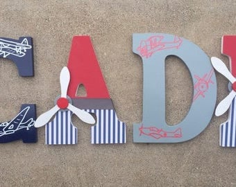 Wooden Airplane Letters - Wood Airplane Initials - Airplane Letter - Airplane Letter Initials - Airplane Nursery Decor - Airplane Decor