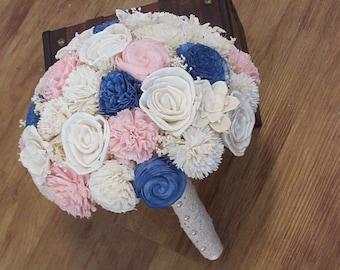 Wedding Bouquet, Sola wood Bouquet, Blue  pink Lace Bouquet, Blue Wedding Bouquet, Alternative Bouquet, Bouquet, Sola flowers, Wood Bouquet