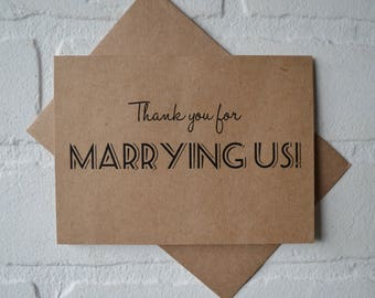 THANK YOU for MARRYING us priest deacon card marry us card thak you for being our officiant kraft card wedding card officiant card officiate