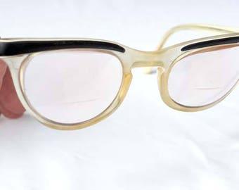 Vintage Black and White Streamline Eye Glasses Plastic