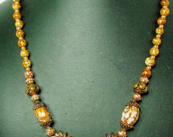 Copper Acrylic Speckled Beaded Necklace with Copper Accents - Item 295